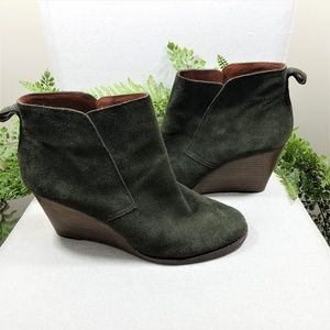 Lucky Brand olive yoniana suede wedge booties